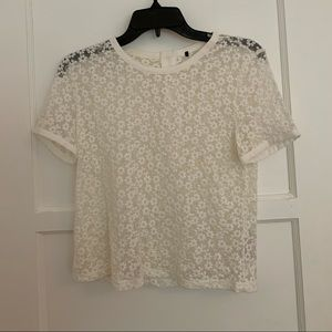 NEW mesh flower patterned top with back zipper